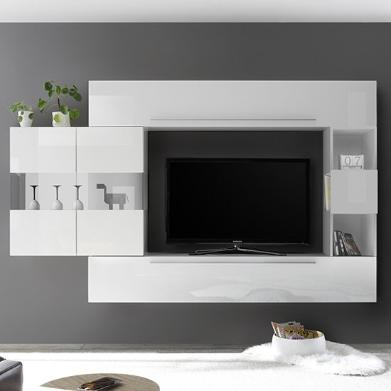 View Infra entertainment unit in white high gloss