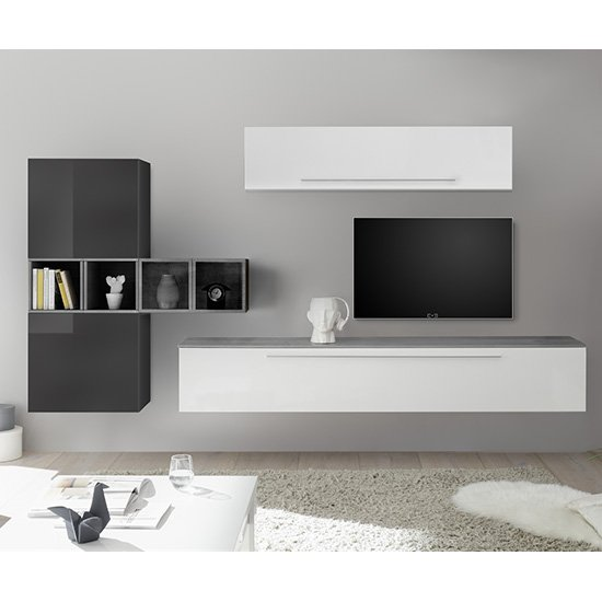 View Infra wall tv unit and shelves in white and grey gloss