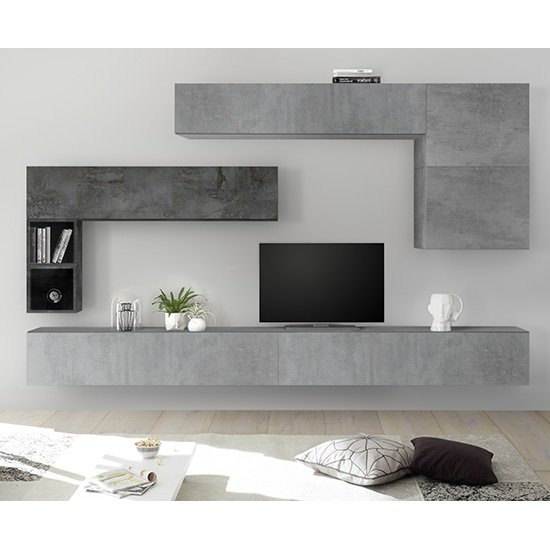 View Infra large entertainment unit in white high gloss and cement