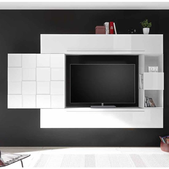 View Infra large entertainment unit in white high gloss
