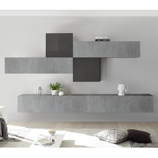 View Infra wall tv unit in grey high gloss and cement effect