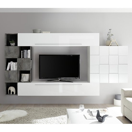 View Infra wall entertainment unit in white high gloss and oxide