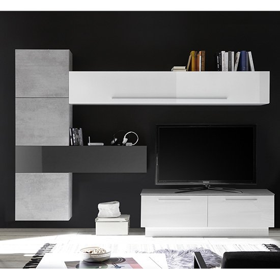 View Infra storage unit tv stand in white and grey high gloss