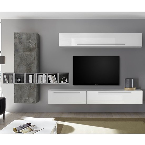 View Infra white high gloss wall entertainment unit in oxide