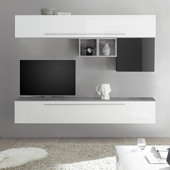 View Infra wall entertainment unit in white and grey high gloss