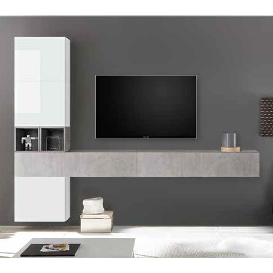 View Infra wall tv unit in white high gloss and cement effect