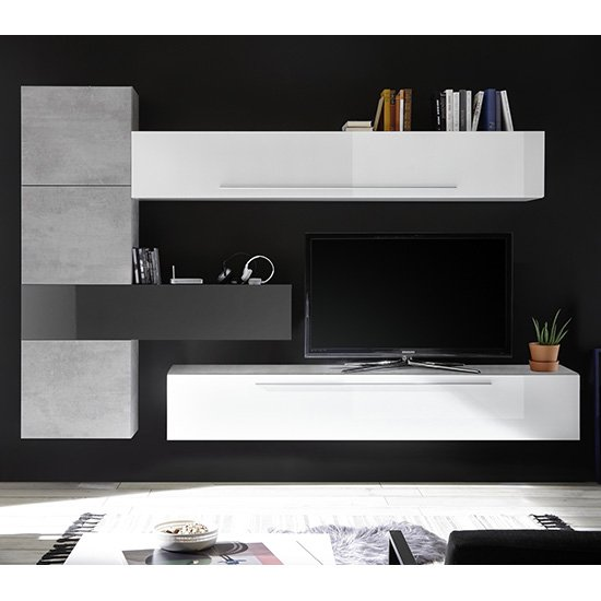View Infra wooden tv wall unit in white and grey high gloss