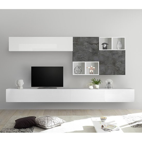 View Infra large white gloss entertainment unit in oxide