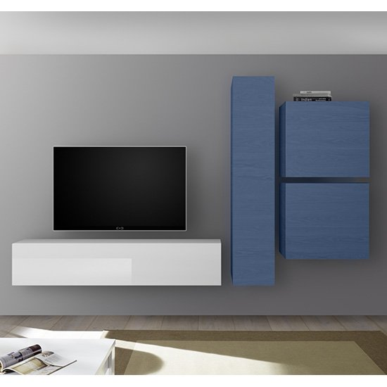 View Infra wall tv unit and storage in white high gloss and blue