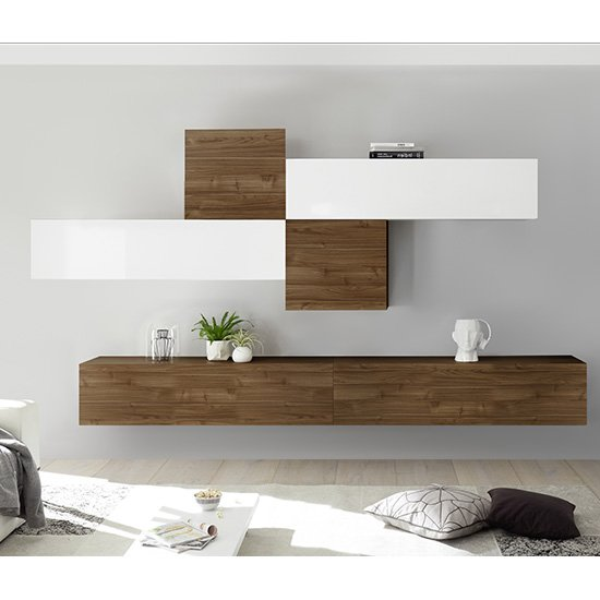 View Infra wall tv unit in white high gloss and dark walnut