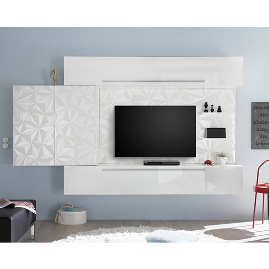 View Infra large entertainment unit in serigraphed white high gloss