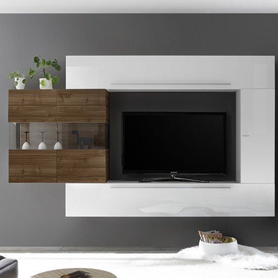 View Infra entertainment unit in white gloss and dark walnut