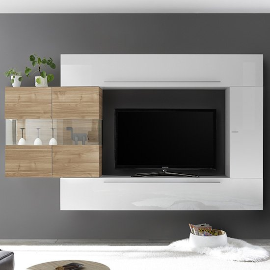 View Infra entertainment unit in stelvio walnut and white gloss