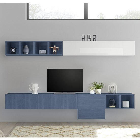 View Infra wall entertainment unit in white high gloss and blue