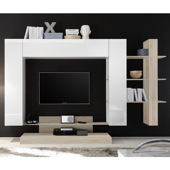 View Iris large entertainment unit in white high gloss and samoa oak