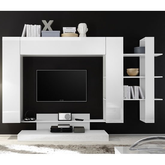 View Iris large entertainment unit in white high gloss