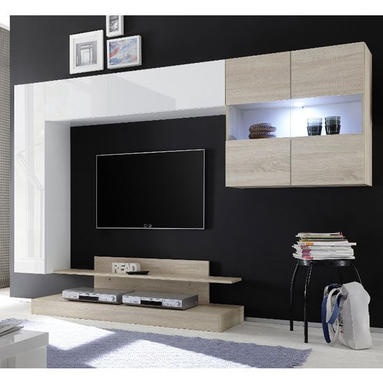 View Iris wall entertainment unit in white high gloss and samoa oak