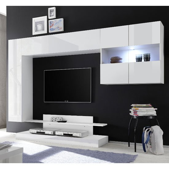 View Iris wall entertainment unit in white high gloss