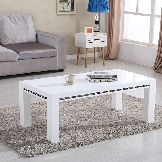 View Diamante coffee table in white high gloss with rhinestones