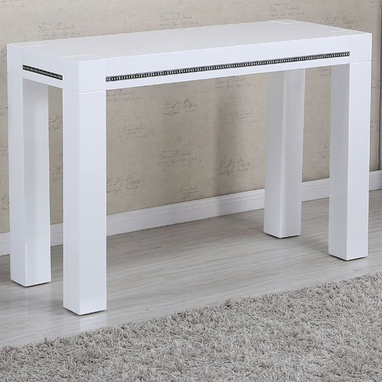 View Diamante console table in white high gloss with rhinestones