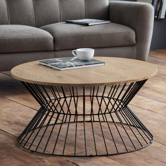 View Jersey wooden coffee table in natural oak with round wire base