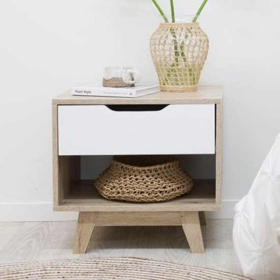 View Jesse wooden bedside table in oak with white drawer