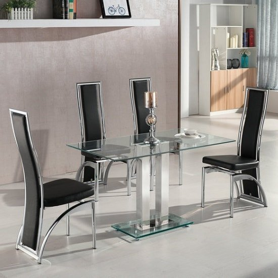 Jet Small Clear Glass Dining Table With 4 Chicago Black Chairs 469 95 Go Furniture Co Uk