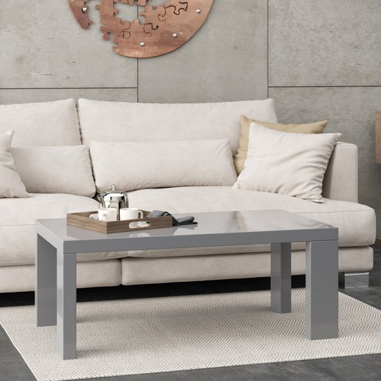 View Joule wooden coffee table in grey high gloss