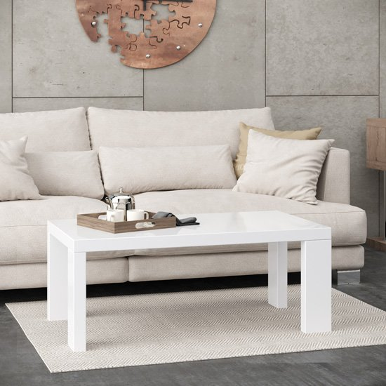 View Joule wooden coffee table in white high gloss