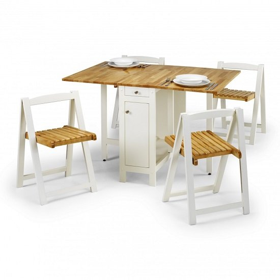 View Selina dining set in natural and white with 4 folding chairs