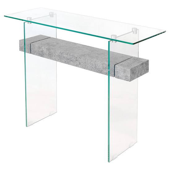 View Jessie glass console table in clear with concrete style shelf