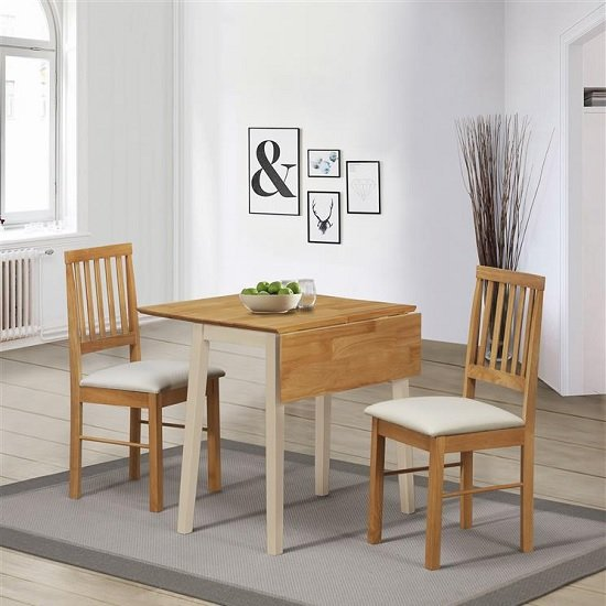 View Keira wooden drop leaf dining set in cream and oak