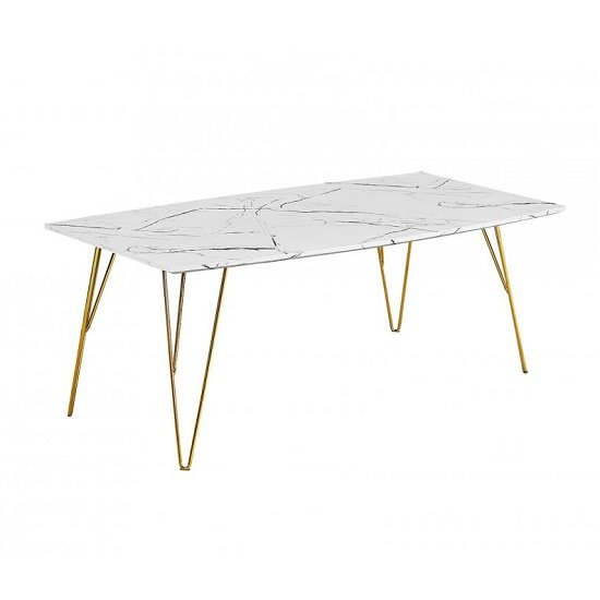 View Kerlin coffee table in white marble effect with metal base