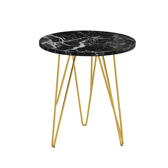 View Kerlin round lamp table in black marble effect with metal base