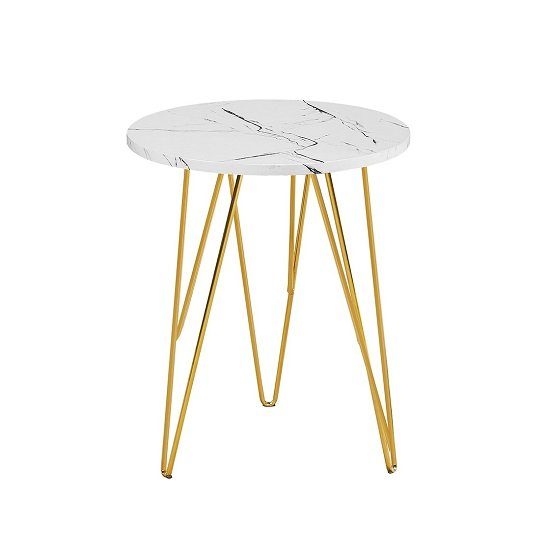 View Kerlin round lamp table in white marble effect with metal base