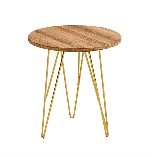 View Kerlin round lamp table in wooden effect with metal base