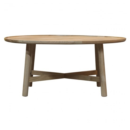 View Kingham round wooden coffee table in oak