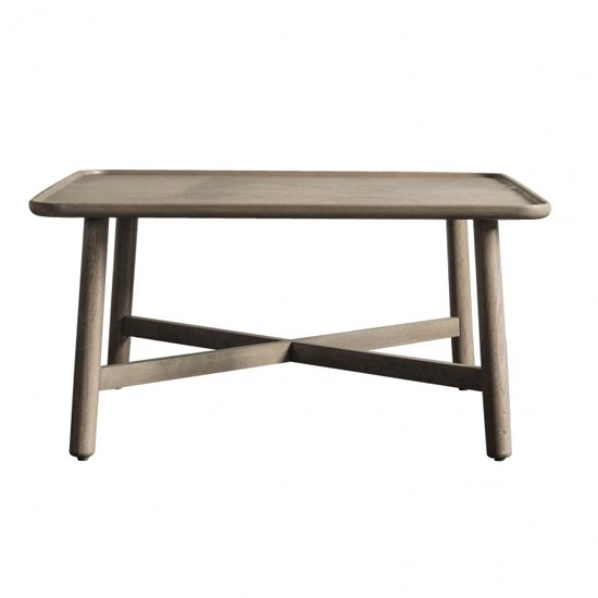 View Kingham square wooden coffee table in grey
