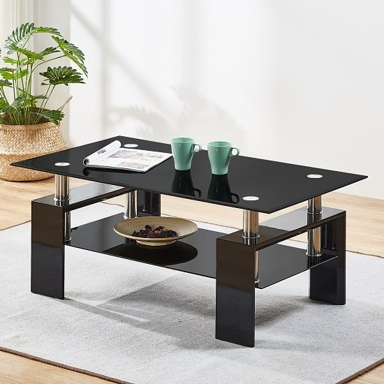 View Kontrast coffee table in black glass with high gloss legs