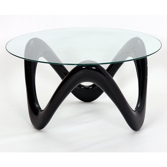 View Lamar clear glass coffee table with black base