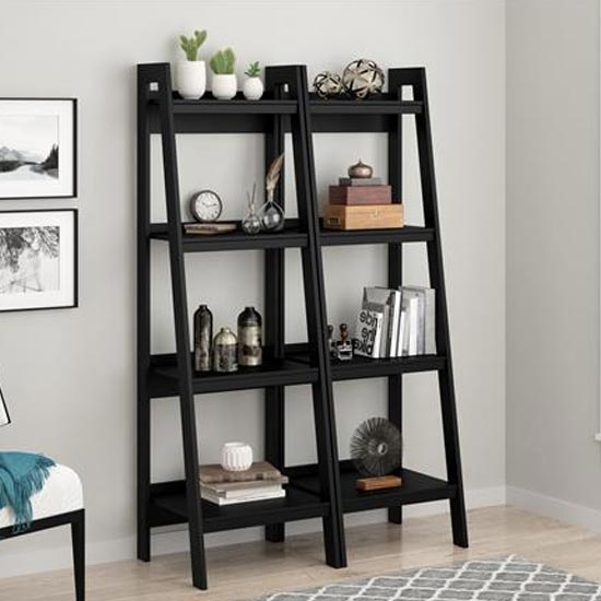 View Lawrence wooden black ladder bookcase with 4 shelves in pair