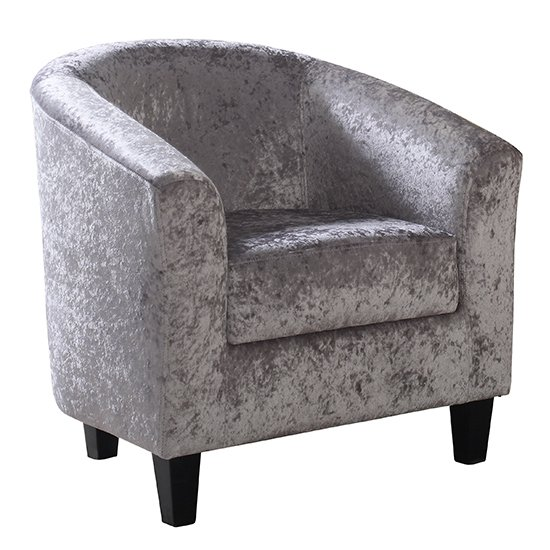 View Leporis crushed velvet 1 seater sofa in silver