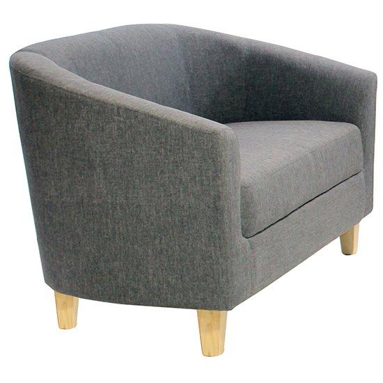 View Leporis linen fabric 1 seater sofa in dark grey