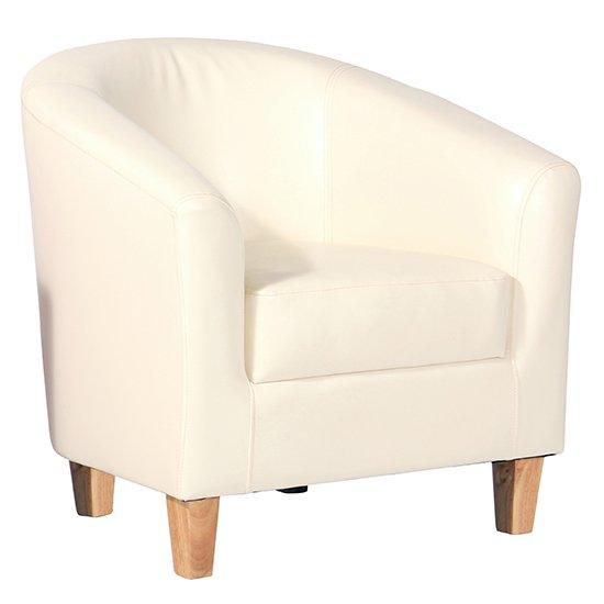 View Leporis pu leather 1 seater sofa in cream