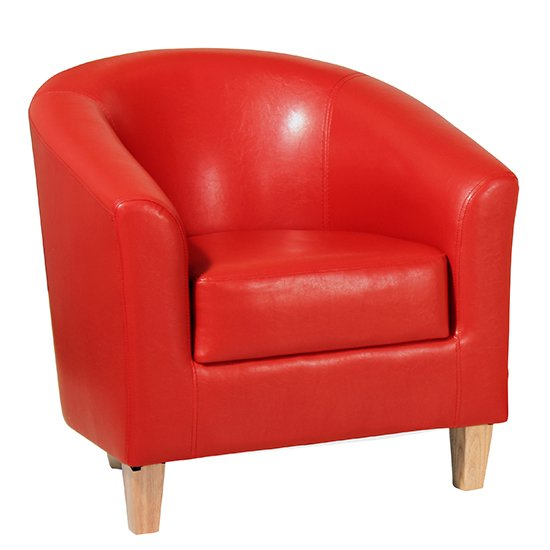 View Leporis pu leather 1 seater sofa in red