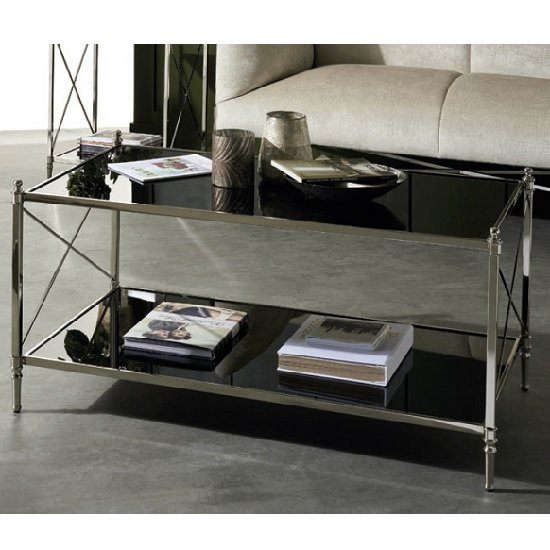 View Lester mirrored coffee table in black with nickel finish frame