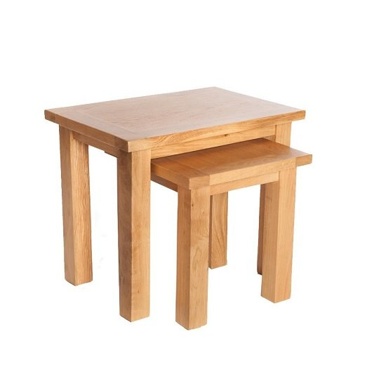 View Lexington wooden nest of tables in oak with 2 tables