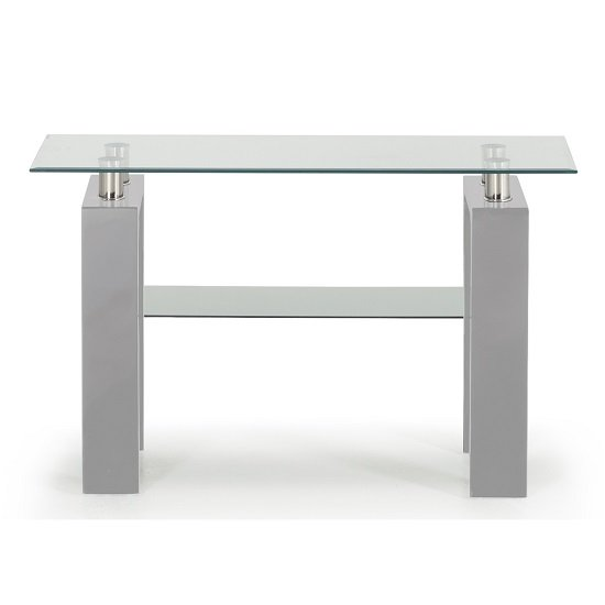 View Lilia tempered glass console table with grey finish legs