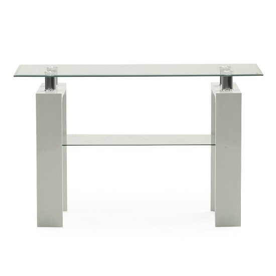 View Lilia tempered glass console table with white finish legs