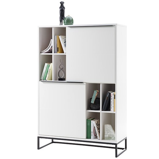 View Lille wooden highboard in matt white with 2 doors and 8 shelves